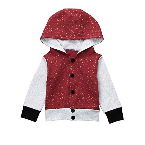 Huhu833 Baby Jacke Baby Mantel, Kinder Baby Jungen Hooded Button Print Pullover Sweatshirt Tops Mantel Kleidung (Wein rot, 24M-100CM) (Hooded Sweatshirt Button)