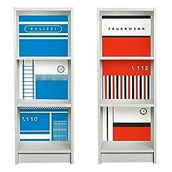 Limmaland Klebefolien Polizei & Feuerwehr passend für Deine Zwei schmale IKEA Billy Regale (T28xB40xH106) - Möbel Nicht inklusive