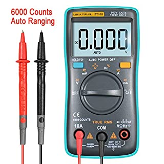 URXTRAL 6000 Counts Auto Ranging Digital Multimeter TRMS Multi Tester Messgeräte Multimeter mit Hintergrundbeleuchtung Messung Temperatur Cat 3 Messgerät AC/DC / Duty Cycle/Continuity Tester