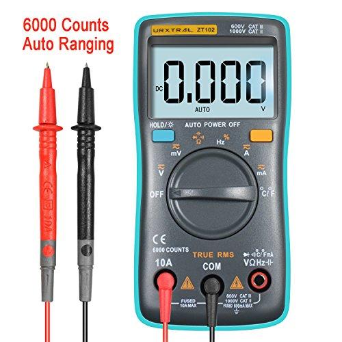 Temperatur-messgerät Tester (URXTRAL 6000 Counts Auto Ranging Digital Multimeter TRMS Multi Tester Messgeräte Multimeter mit Hintergrundbeleuchtung Messung Temperatur Cat 3 Messgerät AC/DC / Duty Cycle/Continuity Tester)
