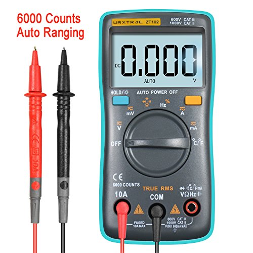 elektro pruefgeraet URXTRAL 6000 Counts Auto Ranging Digital Multimeter TRMS Multi Tester Messgeräte Multimeter mit Hintergrundbeleuchtung Messung Temperatur Cat 3 Messgerät AC/DC / Duty Cycle/Continuity Tester