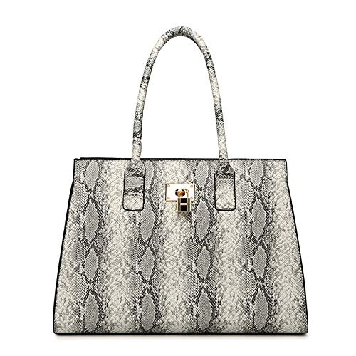 Handtasche Große Kapazität Einzelne Schulter Diagonal Weibliche Tasche Schlange Tasche,Grey-35 * 15 * 25cm -