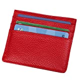 Hibate Porte-Cartes de Crédit en Cuir véritable Porte-Monnaie Etui Porte-feuille - Rouge