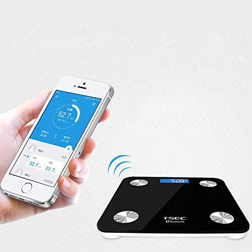 CCDZ Bluetooth-Körperfett-Smart-Skalen - Drahtlose Wiegende Badezimmerwaagen Hohe Präzision Für Das Körpergewicht Fett BMI Viszeral Fett Muskelmasse Protein Usw Smart APP Für Fitness-Tracking