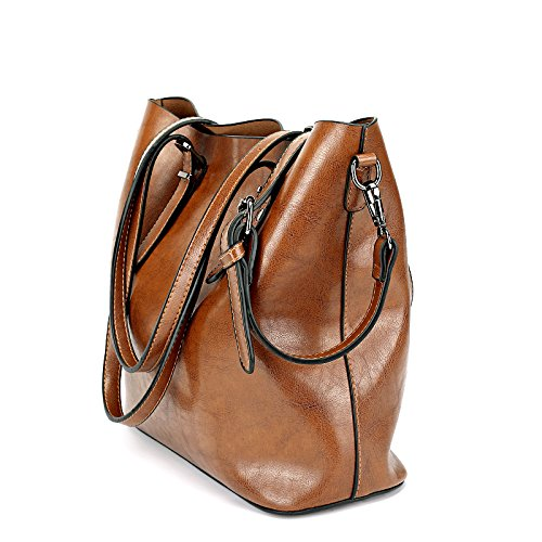 Seeyoulife Damen Leder Elegant Mode Große Handtasche Europäische stil Schultertaschen Umhängetasche Shopper Tasche Henkeltasche Beuteltasche Weich Modisch Handtaschen Damentasche Braun