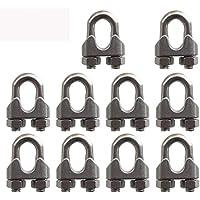 """SKKXY 10 piezas M10 de acero inoxidable 3/8""""/9,5 mm cuerda de alambre de acero Abrazadera de cable U perno Sillín Cierre"""