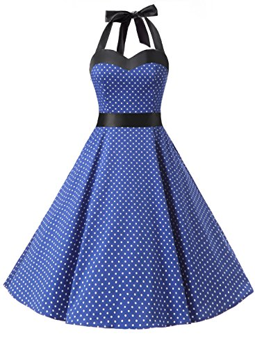 Dresstells® Halter 50s Rockabilly Polka Dots Audrey Dress Retro Cockt
