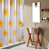 Sonnenblume duschvorhänge, Duschvorhänge stoff Dick Polyester Wasserdicht Anti schimmel Pastorale muster Badezimmer dusche vorhang Bath vorhang-gelb B 240x200cm(94x79inch)