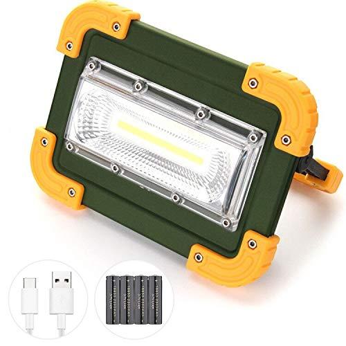 Projecteur LED Extérieur 30W, Elekin 1000LM Rechargeable Lampe de Travail Luminosité Réglable, Orientable 180°, IP65 Étanche, 4 Modes, pour Hiking, Camping, Jardin (4 x 18650 Batterie)