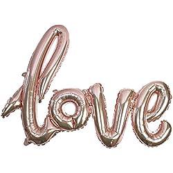 Talking Tables Truly Romantic Ballon Enseigne Métallisée «Love» Rose Mordoré Gonflable pour Mariage, Anniversaires de Mariage et Saint Valentin, Rose Mordoré