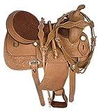 Manaal Enterprises - Sella da Bambino in Pelle di Alta qualità, Stile Western Barrel Racing Pony, Taglia da 25,4 a 30,5 cm, con poggiatesta in Pelle, Collare Seno, redini