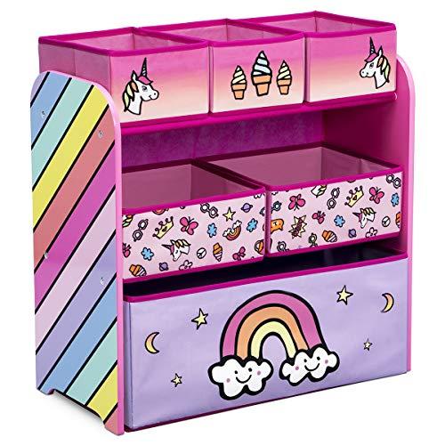 TW24 Aufbewahrungsregal mit 6 Boxen und Motivwahl Kinderregal Holz Aufbewahrungsboxen Regal Kindermöbel Standregal (Regenbogen)