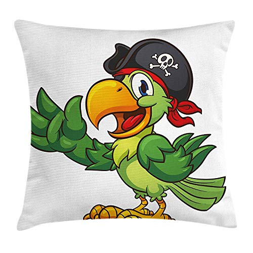 Pirate Throw Pillow Cushion Cover, Cartoon Parrot with Pirate Hat Eye Patch Waving Hand Gesture Cute Funny Character, Decorative Square Accent Pillow Case, 18 X 18 inches, Multicolor (Eye Pirate Patch Pink)