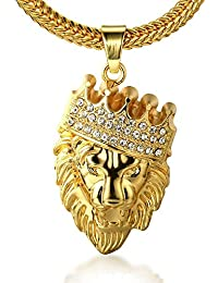 Spangel Fashion Men's 18k Gold Plated Crown Lion Pendant