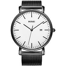 BUREI Reloj de Pulsera clásico para Hombres Estuche Ultra Fino Minimalista Dial analógico con Fecha Movimiento