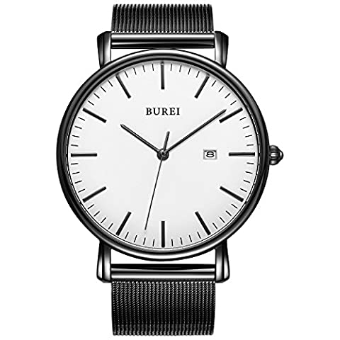 BUREI Unisex Ultra Thin Minimalist Quartz Watch White Face with Date and Black Milanese Mesh Band