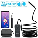 Rotek Endoscope, WiFi d'Inspection Caméra 2.0 Mégapixels 1080P HD, Caméra Endoscopique Câble Semi Rigide,IP68 Etanche Endoscope avec 8 LEDs pour iOS,iPhone,Android,Tablette - 5 Mètres