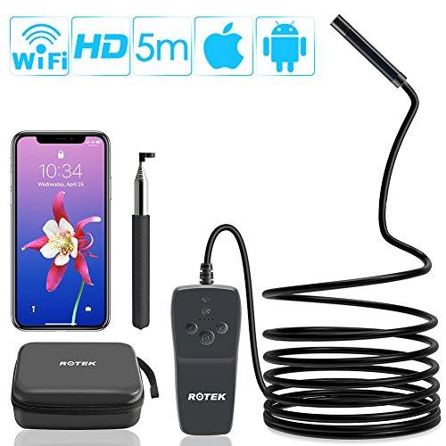 Rotek Endoscope, WiFi d'Inspection Caméra 2.0 Mégapixels 1080P HD, Caméra Endoscopique Câble...