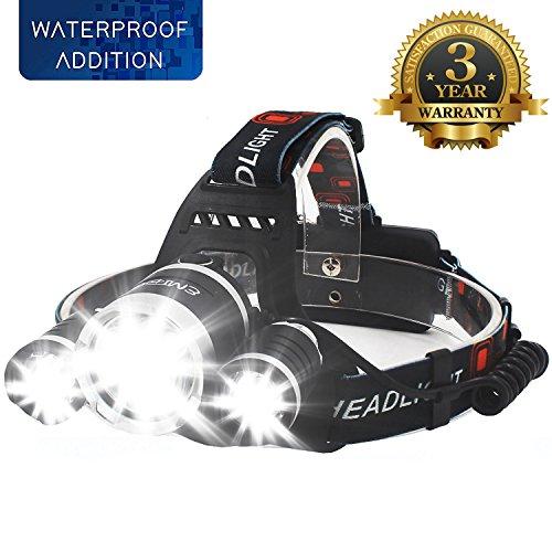 EMIDO LED Stirnlampe, USB Wiederaufladbare LED Kopflampe, 4 Helligkeiten zu wahlen, 5000 Lumen wasserdichter Scheinwerfer,Batterie betriebene LED Stirnlampen, LED Kopflampen, Kopfleuchten
