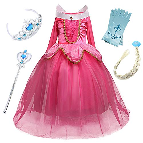 FStory&Winyee Mädchen Prinzessin Kleid Kinder Aurora Kostüm Kinder Karneval Kostüm Cosplay Kleid Dornröschen Kleid Blau Pink Langarm Fasching Verkleidung Party Weihnachten Halloween Fest (Sexy Aurora Kostüm)