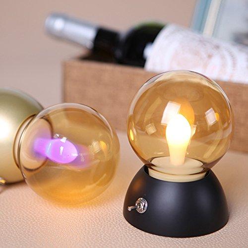 yiwa portable Bedside Light rechargeable lampe de table Bulb Light Vintage Rétro sans fil le soir Light noir