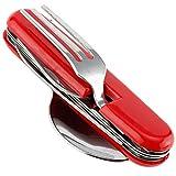 Multi-usage vaisselle portable équipement de plein air 4-en-1 en acier inoxydable fourche couteau décapsuleur cuillère voyage Camping couverts ensemble pour la famille en plein air Camping barbecue