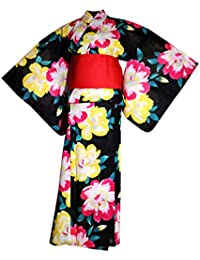 60455e9dcc13 myKimono Yukata Traditionnelle Japonaise Kimono Robe Yukata avec Ceinture  Obi et Ceinture Mince Koshi-himo