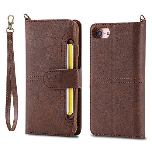Huplant Compatible for Schutzhülle iPhone 6S hülle Abnehmbar 2INI Leder Wallet Flip Schutzhülle für iPhone 6 / iPhone 6S 4.7