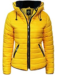 Womens Ladies Quilted Padded Coat Bubble Puffer Jacket Fur Collar Hooded Thick [Mustard Yellow, UK M]