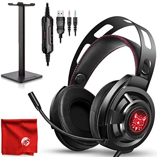 ONIKUMA M190 Pro RGB LED Licht Over-Ear 7.1 Surround Sound Noise Cancelling Gaming Headset Mikrofon Bundle mit Kopfhörerständer für PC, Xbox One, PS4, Nintendo Switch, Mac, Desktop, Laptop, Computer