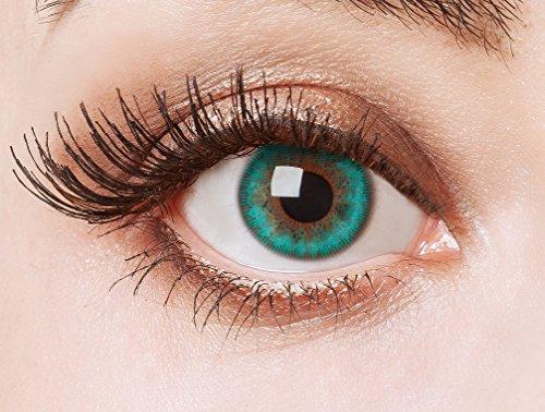 aricona Kontaktlinsen Farblinsen Aquamarine Natürlich deckende und farbintensive für dunkle Augenfarben, farbige Jahreslinsen, grün, Ohne Sehstärke, 2 Stück