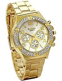 Jewelrywe Regalo de papá Día del Padre Grande Relojes de Hombre Caballero, Dorado Atractivo con Diamantes de imitación 3 Ojos Decorativos,…