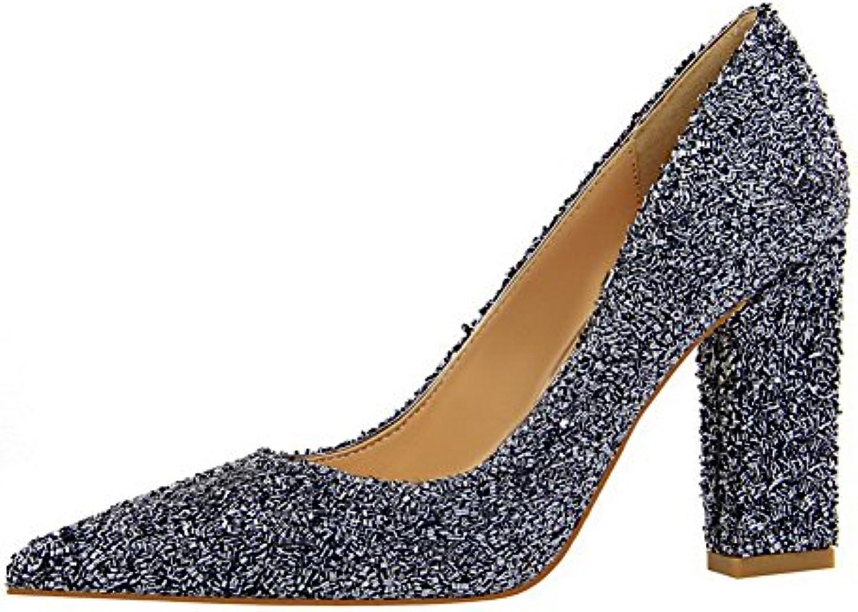 AllhqFashion Damen Pu Spitz Zehe Hoher Absatz Ziehen auf Rein Pumps Schuhe Grau 37