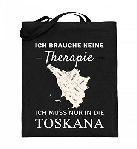 Hochwertiger Jutebeutel (mit langen Henkeln) - Toskana Therapie Schwarz