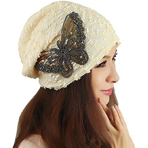 Tongshi Sombrero de invierno de las mujeres del cordón de la mariposa Beanie Señora Skullies Turbante Cap (Beige)