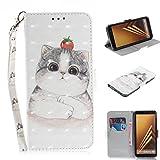 Cozy Hut Samsung Galaxy A8 Plus Hülle, Flip PU Leder Tasche mit Intern Karte Schlitz, Magnetic Closure mit Standfunktion und Handy Gürtel Schutzhülle für Samsung Galaxy A8 Plus - Nette Katze