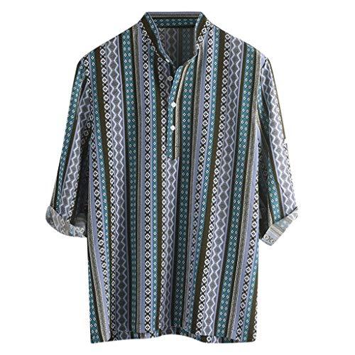 Ethnische Herrenhemd Traditionelle Print Hippie farbig gestreiften Top Kurzarm Kurzarm Freizeithemd Top Sweatshirts Beach Shirts (Hippie Bikini Kostüme)