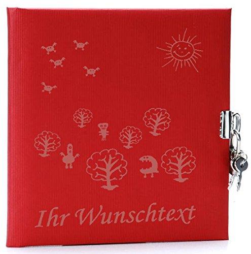 Tagebuch mit Schloss Design mit Ihrem Wunschtext (Design Monster, Rot) Monster-schloss