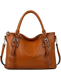 YALUXE Women's Vintage Style Soft Leather Work Tote Large Shoulder Bag (Upgraded 2. 0)