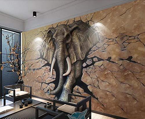 Papel Pintado 3D Fotomural Elefante En Relieve Rompiendo Pared Mural Papel Tapiz Pared Moderno Wallpaper,250cmX175cm