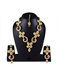 BAAL Jewellery Traditional Bridal Wedding Gold Plated Earrings Maang Tika Necklace Set Jewellery Set For Women...