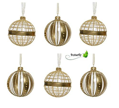 Christmas Decorations Viva Lot de 6 Boules de Noël en Verre Transparent 8 cm