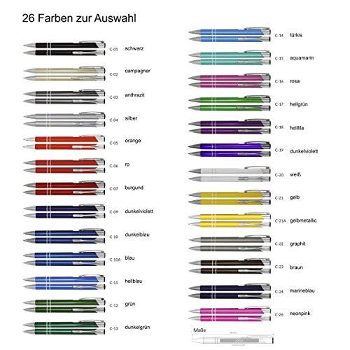 100 Kugelschreiber mit Gravur, COSMO, Lasergravur nach Wunsch, individuelle Werbeartikel