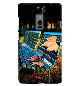 Blue Throat Tree Leaves On Bench Hard Plastic Printed Back Cover/Case For OnePlus 2