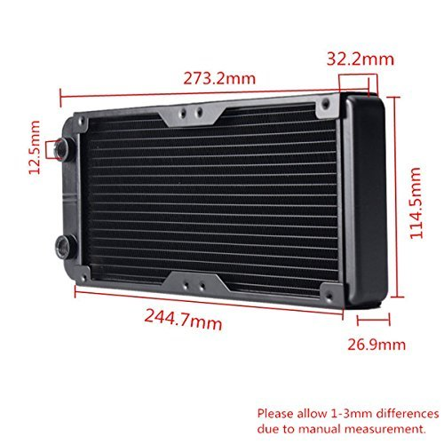 Supercope - 240MM Aluminum Computer Water Cooling Radiator Water Cooler 18  Pipe Heat Exchanger CPU Heat Sink,with G1/4