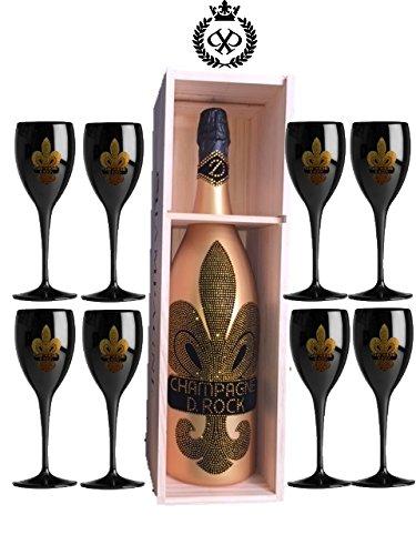 D. Rock Champagner 3 Liter Doppelmagnum Diamond Champagne mit über 1000 geschliffenen Schmuckkristalle jede Flasche ein Unikat inkl. 8 schwarzen Champagnergläsern Doppel Magnum XXL in der Holzkiste