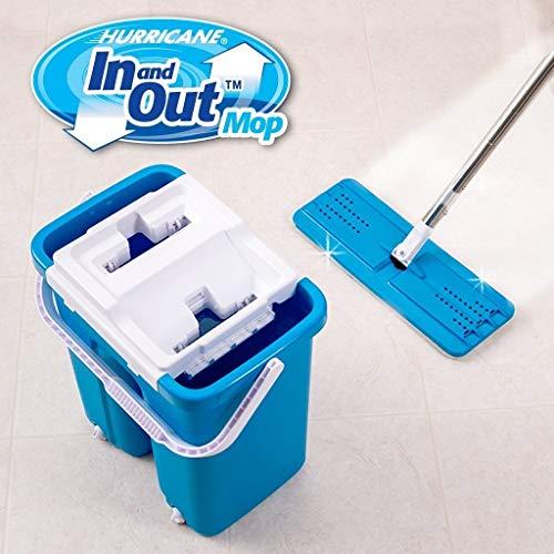 Takestop® lavapavimenti lava pavimenti strizza asciuga secchio doppio scomparto jk con 2 mocio microfibra rotante strizzante casa pulita
