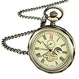Treeweto meccanico da tasca bronzo numeri romani Open Face con catena uomini 24-hour Moon Sun + confezione regalo