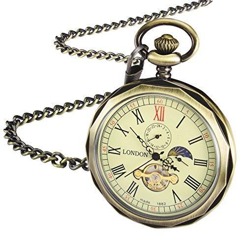 TREEWETO Retro Mechanische Taschenuhr Herren Bronze Offenes Gesicht Römische Ziffern 24-Stunden Sonne Mond Anzeige Taschenuhren mit kette und Geschenkbox