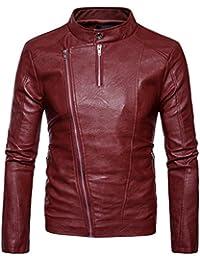 Sentao Uomo Giacca da Motociclista PU Pelle Cappotto Giubbotto Cerniera Slim  Fit Jacket f9d4b175ecd